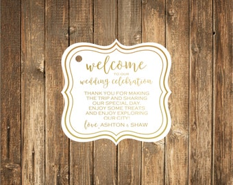 Welcome to our Wedding Favor Tags-Real Gold Foil Printed/Welcome Tags/Custom Favor Tags/ Welcome Favor Tags