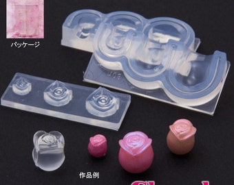 Rose or rose flower mold. Miniature rose soft mould. Three sizes of roses in one mold