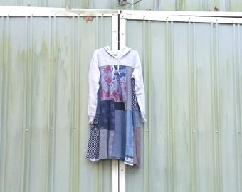Hoodie Sweatshirt Dress Coton Gray Knit Plaid Patchwork Tunic funky upcycled boho gypsy  wearable art tunic dress by CreoleSha