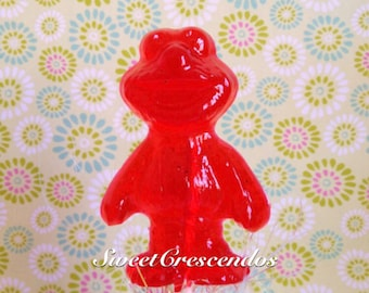Sesame Street ELMO Inspired Lollipops- Hard Candy Favors- Sesame Street lollipops- Birthday Party- Baby Shower favors