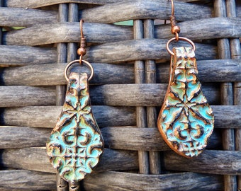 Copper and patina flower doodle polymer clay earrings