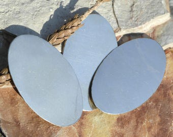 Blank Oval Shape 55.4mm x 33.6mm 22g Cutout for Soldering Stamping Texturing Blanks Variety of Metals - 4 pieces