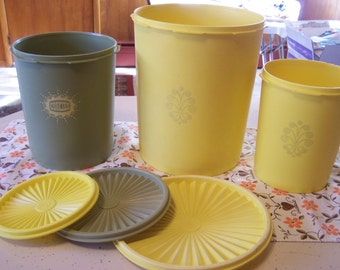 Vintage Tupperwar Servalier Canisters, Flour, Sugar, Cookie Jar, Green, Yellow, Food Storage Containers, Countertop, 1970s, 1980s,