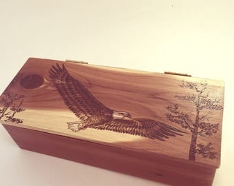 Wooden Keepsake Box for Gift, Decorative Personalized Box, Custom Message, Unique Wooden Box, Cedar, Wood Burned, Eagles, Small Box with Lid