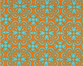Orange & Turquoise Happy Medallion Fabric by Brother and Sister  - 1 yard