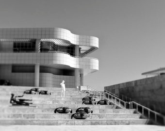 Black and White Los Angeles Print, Getty Museum, Office Decor, California Print, Architecture