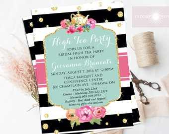High Tea Invitation, Bridal High Tea, Bridal Brunch Invite, Printable Invite, Bridal Shower Tea, Printable Shower, Glitter, jadorepaperie