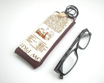 Neck glasses holder, newspaper fabric eyeglass case with lanyard, burgundy faux leather eyewear case, spectacles cover with pocket