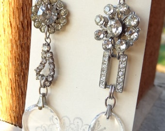 Winter Sparkle~ Vintage Upcycle Rhinestone Dangle Earrings with Swarovski Crystal Charms