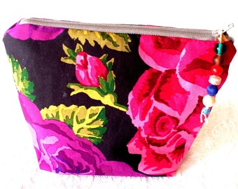 Small Zippered Pouch, Cosmetic Toiletry Bag, Floral Accessory Case, Electronic Charger Case, Jewelry Storage Pouch, Zipper Makeup bag