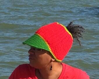 Rasta Dread Hat, Free Your Dreads Hat, Crochet Peak Hat, Locs Hat, Rasta Colours, Messy Bun Hat, Pony Tail Hat