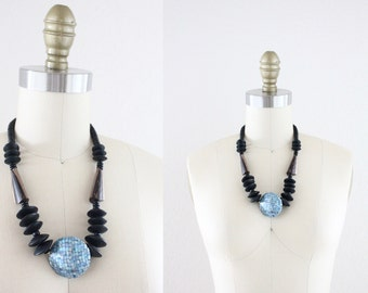 S A L E wood + shell bead necklace