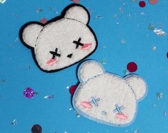 Kawaii Pastel Goth Deaddy Bear Sew-On Chenille Patch - 2 Colors Black or Light Blue - Flair Teddy Bear