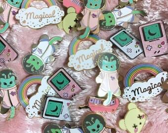 Enamel Pins Seconds Sale - Clearance Deaddy Bear, Magical Girl Gamer, Dream Phone, Martian Kitty
