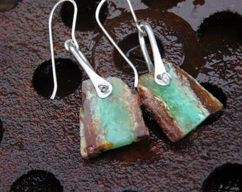 Chrysoprase Slab Cut Green and Brown Stone and Sterling Silver Earrings