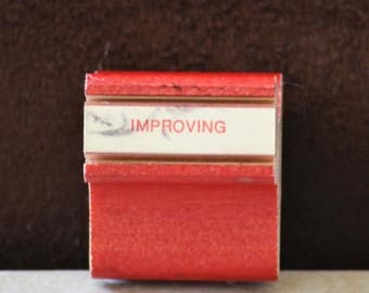 Educational Rubber Stamps/Improving/Grading Stamp/Wood Mounted Stamp/Instructional Materials/Teaching Tools/70s