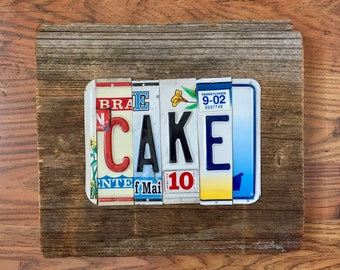 CAKE license plate sign tomboyART art recycled upcycled SOUL FooD pig BBQ Mississippi blues
