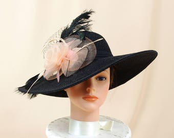 Kentucky Derby Hat * Peach and Black Hat * Formal Hat * Black Derby Hat * Church Hat * Wedding Hat * Ascot Hat * Wide Brim Hat
