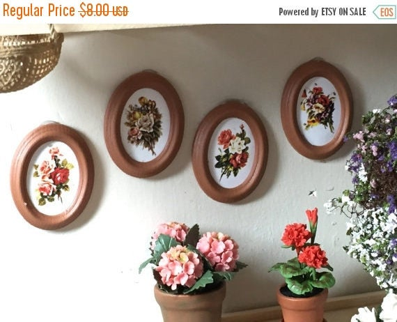 SALE Miniature Pictures, Framed Oval Flower Pictures, Dollhouse Miniatures, 1:12 Scale, Set of 4 Pictures, Dollhouse Decor, Accessories