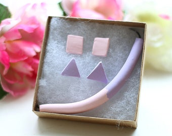 Pink & Purple Clay Bead Tube Necklace on Leather Cord with Square and Triangle Earrings (GIFT SET)
