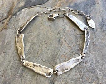 Fine Silver Molten Bracelet. Handmade Jewelry for Charity. BS22