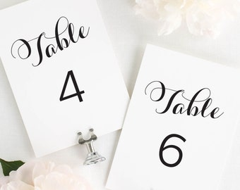 Romantic Script Table Numbers - 5x7""