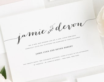 Flowing Script Wedding Invitations - Sample