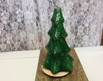 Antique Gurley Christmas Tree Wax Candle, Figure , Green Candle, Collectibles, Glitter, Vintage Decor