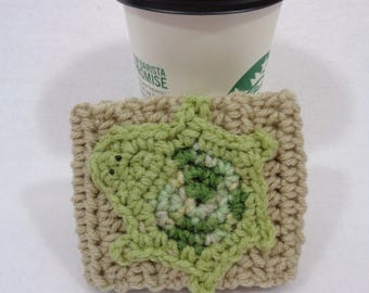 Tan Crochet Coffee Cup Cozy with Turtle Embellishment, Crocheted Coffee Cup Sleeve with Green Turtle, Mothers Day Gift for the Coffee Lover