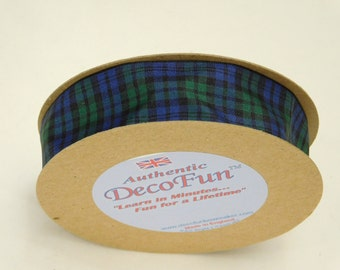 Black Watch Plaid Ribbon 1 inch Woven Edge Tartan genuine Scottish plaid Made in England for mens gifts, Fathers Day party favor event craft