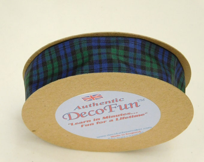 Black Watch Plaid Ribbon, 1 inch (24 mm) width Woven Edge Tartan, genuine Scottish plaid, Made in England, for men's gifts & Father's Day