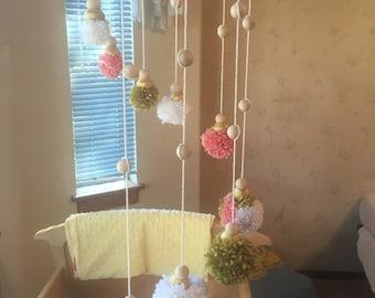 Nursery decor, baby mobile, pom pom mobile, nursery mobile