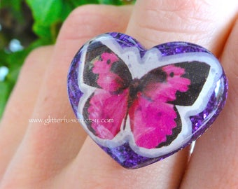 Magenta Butterfly Purple Resin Heart Ring, Amethyst Heart Bright Pink Butterfly Ring, Nature Glitter Fusion Heart Ring, Pink & Purple Ring