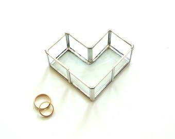 Wedding ring box, stained glass, ring bearer, heart shaped box, geometric box, unique ring box, modern wedding, summer wedding