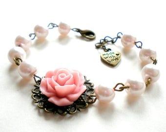 Pink Pearl Bracelet Pink Rose Bracelet Pink Bridesmaid Bracelet Blush Pink Wedding Jewelry Pink Flower Bracelet Bridal Party Bracelets