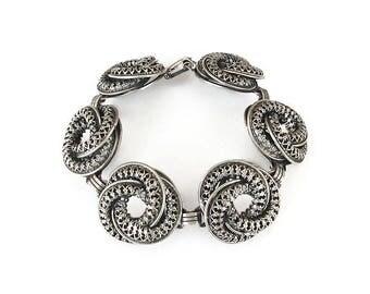 Danecraft Sterling Bracelet, Filigree Silver, Knot Twist Circle, Sterling Bracelet, Vintage Bracelet, Vintage Danecraft, Vintage Jewelry