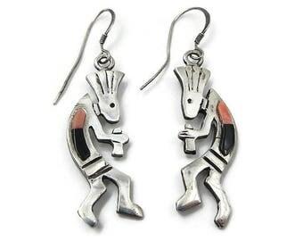 Vintage Sterling Kokopelli Dangle Earrings - Native American, Sterling Earrings, Vintage Earrings