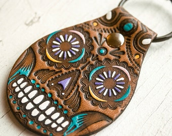 Sugar Skull Leather Keychain - Día de los Muertos - Day of the Dead - Mexicali - Mesa Dreams - Handmade - Made to Order