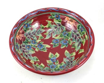 """Shallow Red Ceramic Bowl - 7"""" Porcelain Serving Bowl with Red and Blue Flowers and Polka Dots- Hanmade OOAK Pottery"""