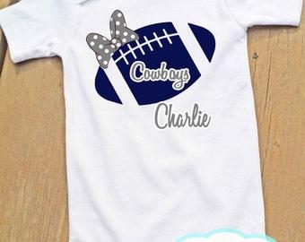 Football Personalized Girl - Dallas Cowboys -  Bodysuit or Tshirt - Football Fan