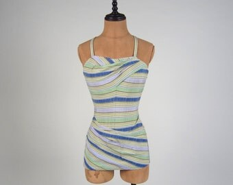 1940s pastel bathing suit • vintage 40s swimsuit • stripped bather