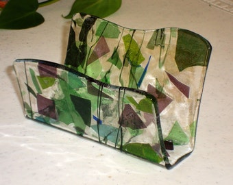Fused Glass Business Card Holder -  Blue, green and purple 12224