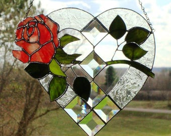 Rose Heart - Deep Pink Stained Glass Panel