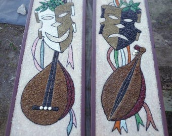 "Two Vintage 1950s Comedy & Tragedy Masks Theatrical Gravel Pebble Art Wall Hangings 36"" x 14"""
