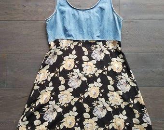 Vintage Denim Floral Sleeveless Dress (m)