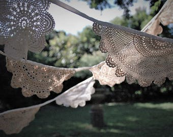 WEDDING/CROCHET/BUNTING/Doilie/Up-cycled Doily Bunting/Vintage Doilies Garland/Handmade/Cream/Ivory/Ecru/ 31 Feet/9.5 meters