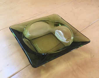 Vintage Green Glass Ashtray Mid Century Square Ashtray