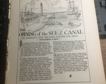 The opening of the Suez Canal 1869. 1933 book page history print illustration . Art frameable history