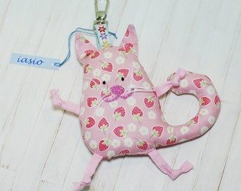 Pink Cat Key Ring Small Pendant Key Chain Toy Handmade Soft Gift Christmas Holidays