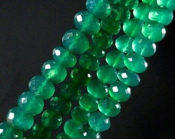 ON SALE Green Onyx Rondelles Rondels Faceted Emerald Green Large Roundels Earth Mined Gemstones- 4.5-Inch Strands - 9 to 10mm